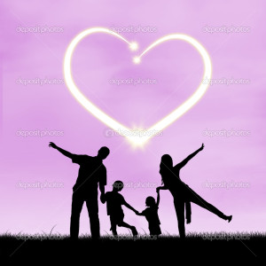 Images of silhouette of happy family with heart symbol of love